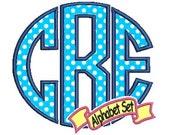 Circle Applique Monogram Design, Embroidery Font, (crl) Instant Download