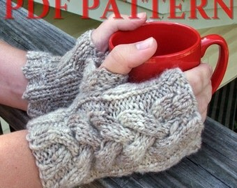 "PDF Pattern - ""Plaits"" Knitted Cabled Fingerless Gloves - Adjustable Knitting Pattern for Handspun Yarn - Instant Download"