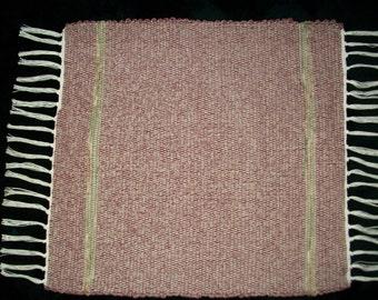 Handmade square woven rag rug burgundy wine maroon tan South Dakota made