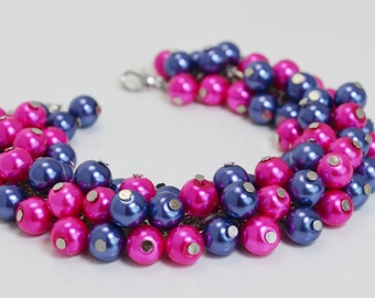 Navy and Hot Pink Cluster Bracelet, Blue Bridal Bracelet, Chunky Bracelet, Hot Pink Chunky Bracelet, Bridal Jewelry, Wedding Pearl Jewelry.