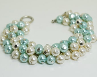 Ivory and Aqua Pearl Cluster Bracelet, Chunky Pearl Bracelet, chunky bracelet, bridal jewelry, cluster wedding bracelet, bridesmaid jewelry