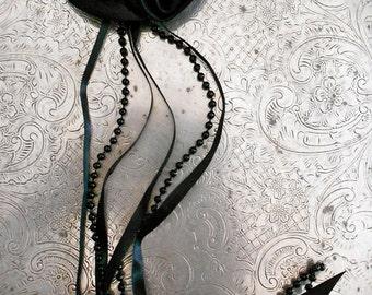 Black Rosette Pearl Appliques