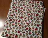 Vintage floral print feed sack, red, green, gold- cotton
