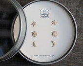Silver & Brass Petite Earring Set of 3 - Sun, Moon, and Stars