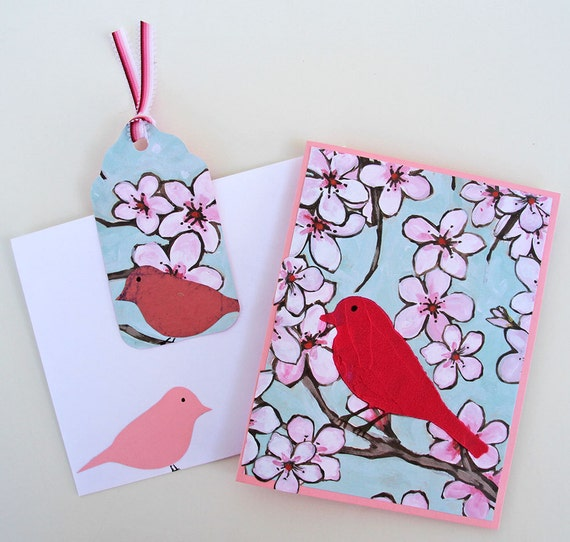 Birds and Blooms Greeting Card with Matching Gift Tag, Handmade Notecard, Card for Bird Lovers, Pink and Blue, Any Occasion Card
