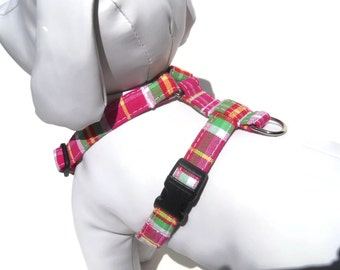 Dog Harness- Pink plaid dog harness