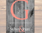 MONOGRAM BRIDAL GIFT | Personalized Engagement Gift | Wood Rustic Chic | Initial Couples Poster | Bridal Shower Gift | Monogram Art Print 02