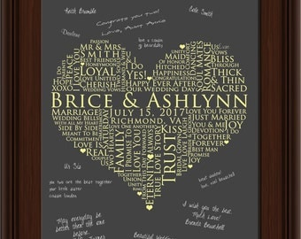 WEDDING GUESTBOOK SIGNATURE poster, Interactive Art Print Poster, Wedding sign in, 20x30 Signature Guest Book, love words poster
