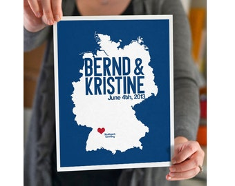 Germany Wedding Gift - Personalized State and Heart - Anniversary Custom Wedding Date - Location City State Europe Modern Art Print - 8x10