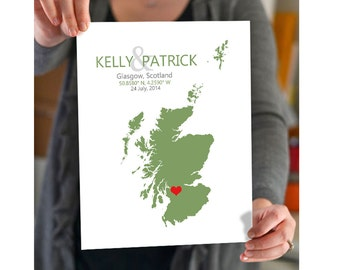 Scotland Wedding Gift - Personalized Wedding Art, State Map Print, Bride & Groom Names and Date, Any State Available, Choice of Colors