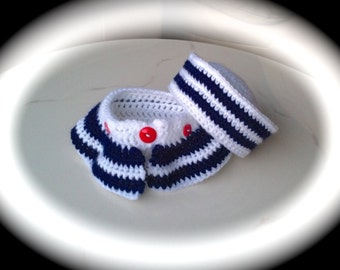Baby Girl's 2 Pc Sailor Hat and Skirt Diaper Cover Set in White and Navy  Sailor Photo Prop in Sizes Preemies to 18 Months