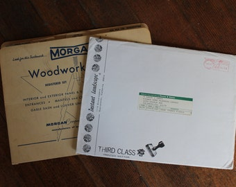 Set of 2 Pieces of Vintage Paper Ephemera - Architectural Tracing Details Woodwork and Landscaping