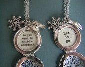 Elsa and Anna Locket necklace set frozen movie quote let it go