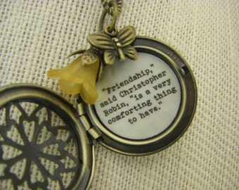 Friendship Locket, friend Necklace, Pooh Quote Jewelry, Friendship Is A Very Comforting Thing To Have, Best Friend Gift