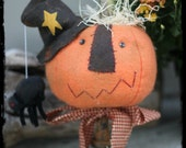 Toady the Punkin' Head Primitive Pumpkin Makedo, Prim Pumpkin Pinkeep, Pin keep Halloween, Make-do Holidays, OFG, FFCOFG, Spooky Spider faap