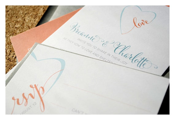 Love in Heart Two Sided Wedding Invitations