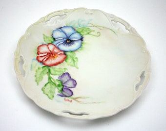 Vintage pansy plate, hand painted flowers, white china dish, spring party, Lufral, blue, red, green, purple, kitchen decor, cut out detail