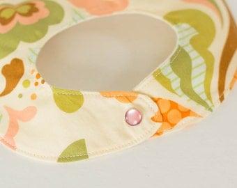 newborn baby bib.  pastel floral.  baby girl.
