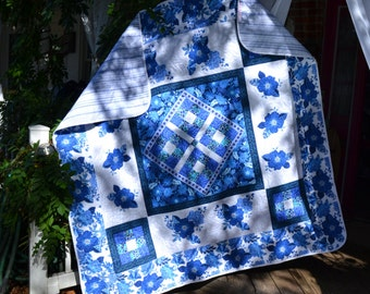 Modern Quilt Handmade Throw China blue housewarming Wedding Present Blue and White Floral Rose Stained Glass Applique Quilt or Tablecloth