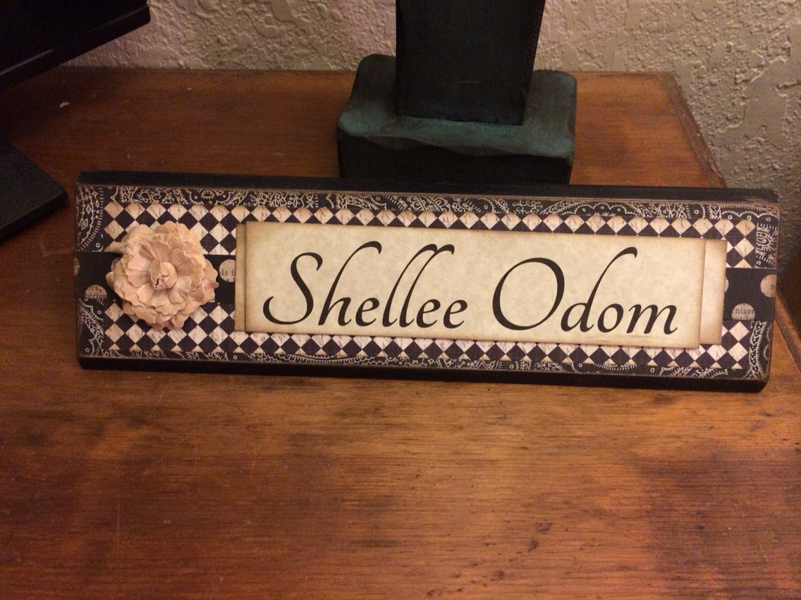 Unique Wooden Office Desk Name Plate Plaque By Shelleeodom