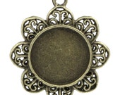 10 Bronze Frames - Flower Charms - WHOLESALE - Antique - Cabochon Settings for 20mm - 39x33mm - Ships IMMEDIATELY from California - BC704a