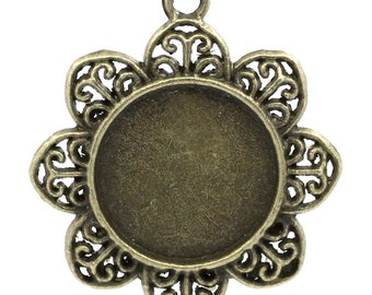 Bronze Cabochon Frames - Antique Bronze - Flower - Holds 20mm - 39x33mm - 3pcs - Ships IMMEDIATELY from California - BC704