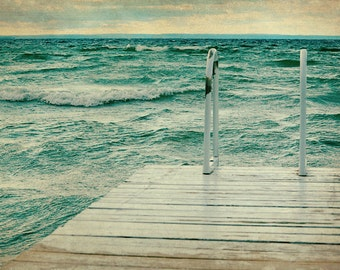 Lake House Decor, Large Wall Art, Ocean Photography, Bathroom Artwork, Dock Picture, Mint Green, Brown, White, Water Photo