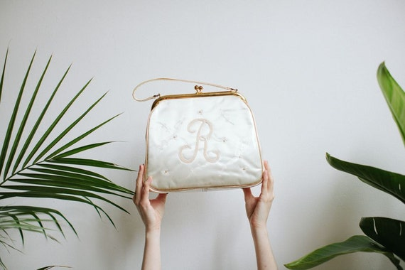 Monogram R Purse | Embroidered Cream Satin with Vinyl Cover