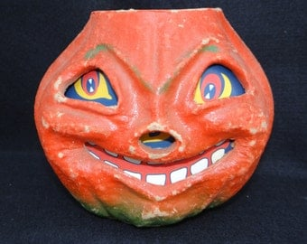Large Vintage 1940's Halloween Smiling Jack-O-Lantern, made with Pulp Paper Mache