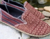 Tribal Mens Loafers in Brown Ethnic Naga Textiles Vegan Mens Shoes - Morgan
