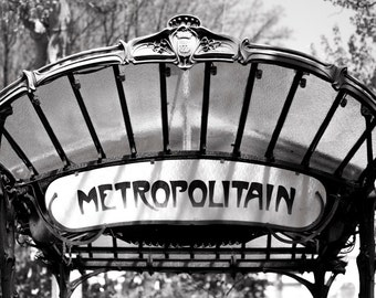 Paris Fine Art Photo -  Abbesses Metro Sign, Black and White Photograph, French Urban Home Decor, Large Wall Art