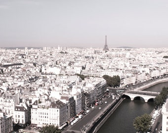 Paris Cityscape Photography - View from Notre Dame, Travel Photo, Fine Art Architectural Photo, Large Wall Art, French Home Decor