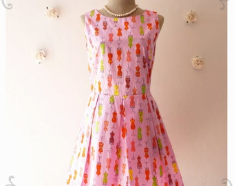 NOW SALE- My Sweet Day Dress Pink Dress Sleeveless Dress Pleated Skirt Mannequin Dress Spring Summer Dress  -Size S