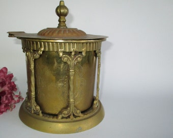 Brass lidded box with hinged lid and columns Hollywood regency trinket box