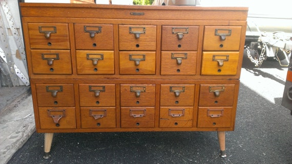 Vintage 20 Drawer Library Card File Cabinet Storage Oak