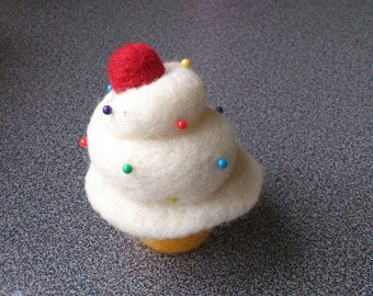 Felted cupcake pincushion christmas gift under 25