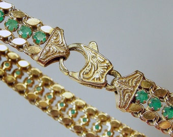 14k Emerald Designer Tennis Bracelet - BREATHTAKING