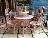 Dollhouse Miniature Shabby Chic Pink Metal Iron Work Patio or Bistro Set of 3  One Table and Two Chairs