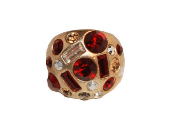 Red Rhinestone Ring, Gold Metal, Modernist Abstract, Adjustable