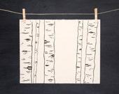 Woodland Birch Trees - Hand Printed Art - Linocut