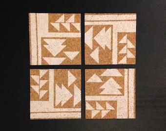 Geometric - Cork Coasters - Hand Printed
