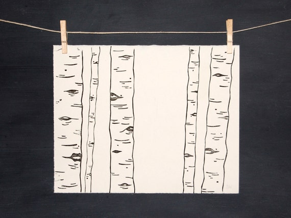 Woodland Birch Trees - Hand Printed Art - Linocut