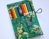 Pencil Organizer Rollup, made from Ninja Turtles fabric, Holder for Colored Pencils, Markers, Sharpies, Party Favors, PENCILS NOT INCLUDED