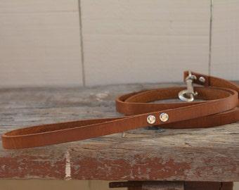 Tan Leather Dog Leash Handmade Brown Simple Traditional Leather Dog Lead Leash