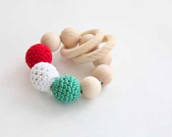 Teething toy, wooden rattle with crochet wooden beads and 2 wooden rings. Wooden beads rattle.