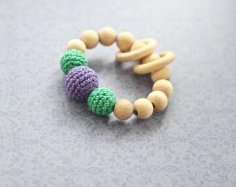 Mommy wooden bracelet. Teething ring toy teether, nursing bracelet. Green violet