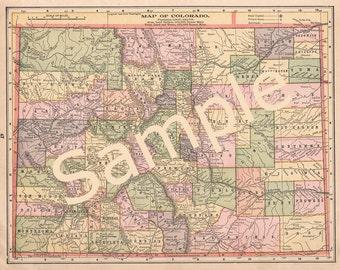 Old Colorado Map, Instant Download, Colorado County Maps, 1900s Color Map of Colorado, Printable Colorado Map, Home Library Decor