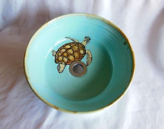 Sea Turtle Vessel Sink By Rikabluepottery On Etsy