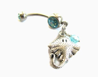 Stingray Bellybutton Ring / Belly Button Jewelry Manta Ray, Navel Piercing Belly Button Ring