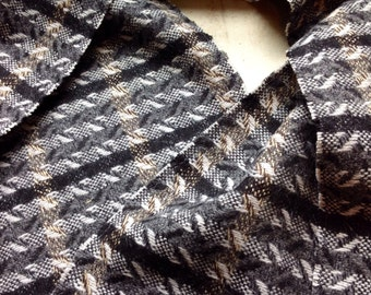 Handcrafted Wool Scarf with Brown, Grey and Black Colours, Made in Canada.
